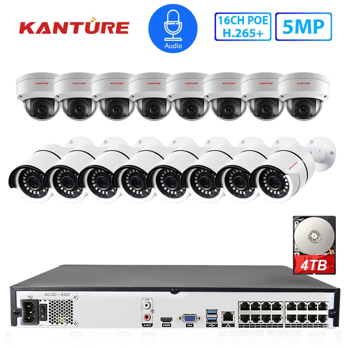 كانتشر H.265 + 16CH 5MP بو طقم NVR الصوت 5MP المخرب الأمن داخلي في الهواء الطلق كاميرا IP نظام مراقبة بالفيديو Onvif HDMI