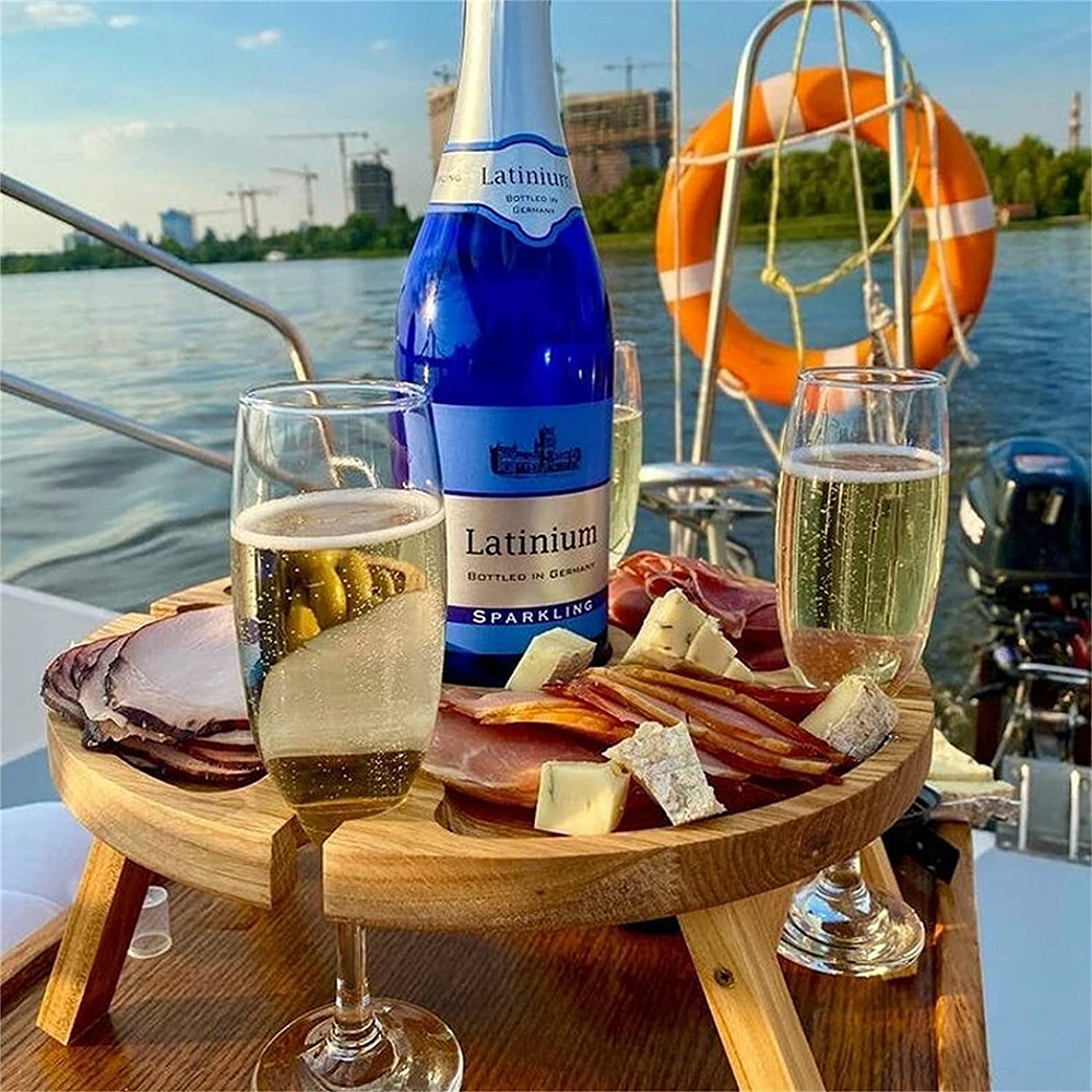 Wooden Outdoor Folding Picnic Table With Glass Holder Round Foldable Desk Wine Glass Rack Collapsible Table K888