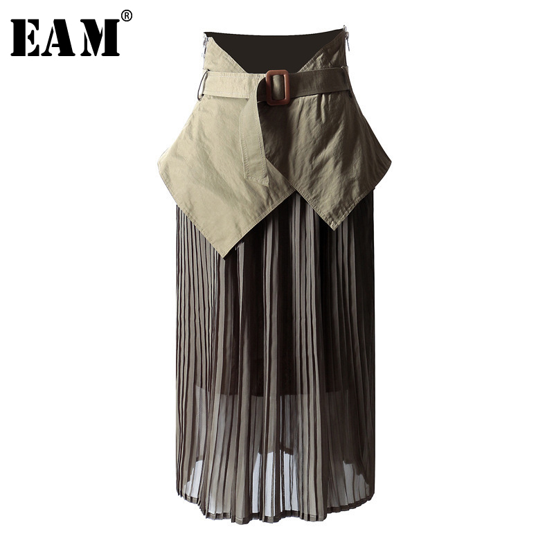 [EAM] High Waist Mesh Spliced Belt Pleated Asymmetrical Half-body Skirt Black Women Fashion Tide New Spring Autumn 2020 1A409