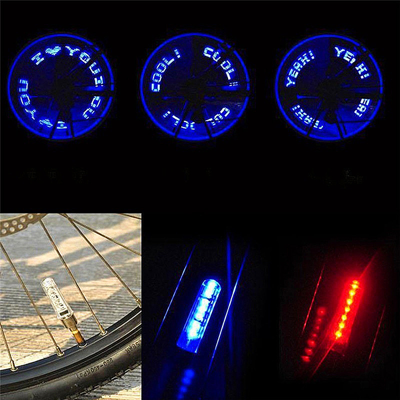 Image 2 - Bike Light within Battery Mountain Road Bike Bicycle Lights LEDS Tyre Tire Valve Caps Wheel spokes LED Light Bike Accessories-in Bicycle Light from Sports & Entertainment