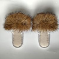 31311 New 2019 Keep Warm Fur Slides Ladies Indoor Shoes Women Creative Fox Fur Slippers