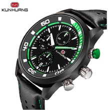 Multifunction Brand New Men Sport Watch Green 3 Sub Dial Calendar Stopwatch Waterproof Genuine Leather Band Quartz Clock Relogio все цены