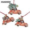 HUADODO 3 шт. винтажный Рождественский грузовик с елкой украшения деревянное Рождественское украшение для орнамент с рождественской елкой веч...
