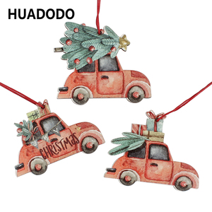 HUADODO 3Pcs Vintage Christmas Truck with tree Ornaments Wooden Christmas decoration for Xmas tree Ornament Party Kids gift(China)