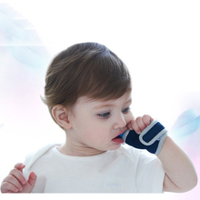 Hot Baby Finger Guard Stop Thumb Sucking Wrist Band Baby Nursing Mittens Teether Pacifier Newborn Dental Care Baby Teether Toys