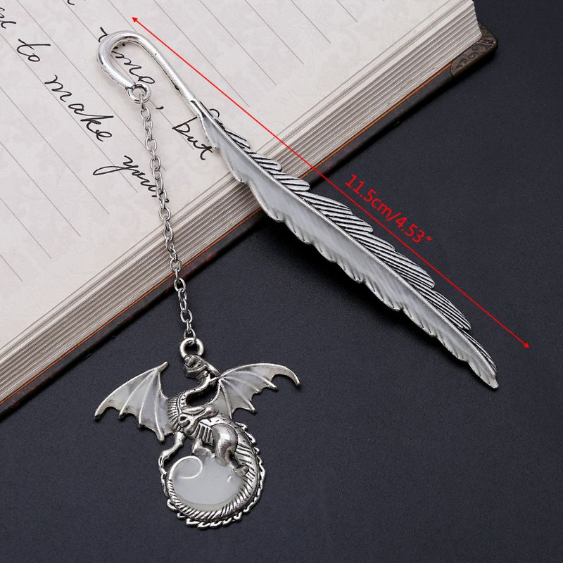 Glow In The Dark Luminous Book Marker Creative Feather Dragon Bookmark Label School Office Stationery W91A
