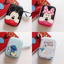 Anime mickey Mouse punto monedero bolsa portátil auriculares caja móvil de la PU de bolso de mano Minnie Pato Donald Cable USB bolsas de Caja