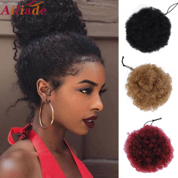 AILIADE Afro Hair Bun Ponytails Extensions Natural Synthetic Puff Curly Donut Chignon Clip In Hairpiece For Black Women - discount item  40% OFF Synthetic Hair