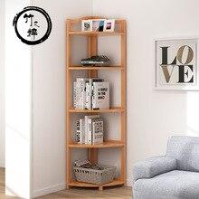 Бамбуковая чистая угловая стойка для хранения угловая Пергола твердый деревянный треножник бамбуковая угловая полка перегородка ретро гостиная чайная комната Sto