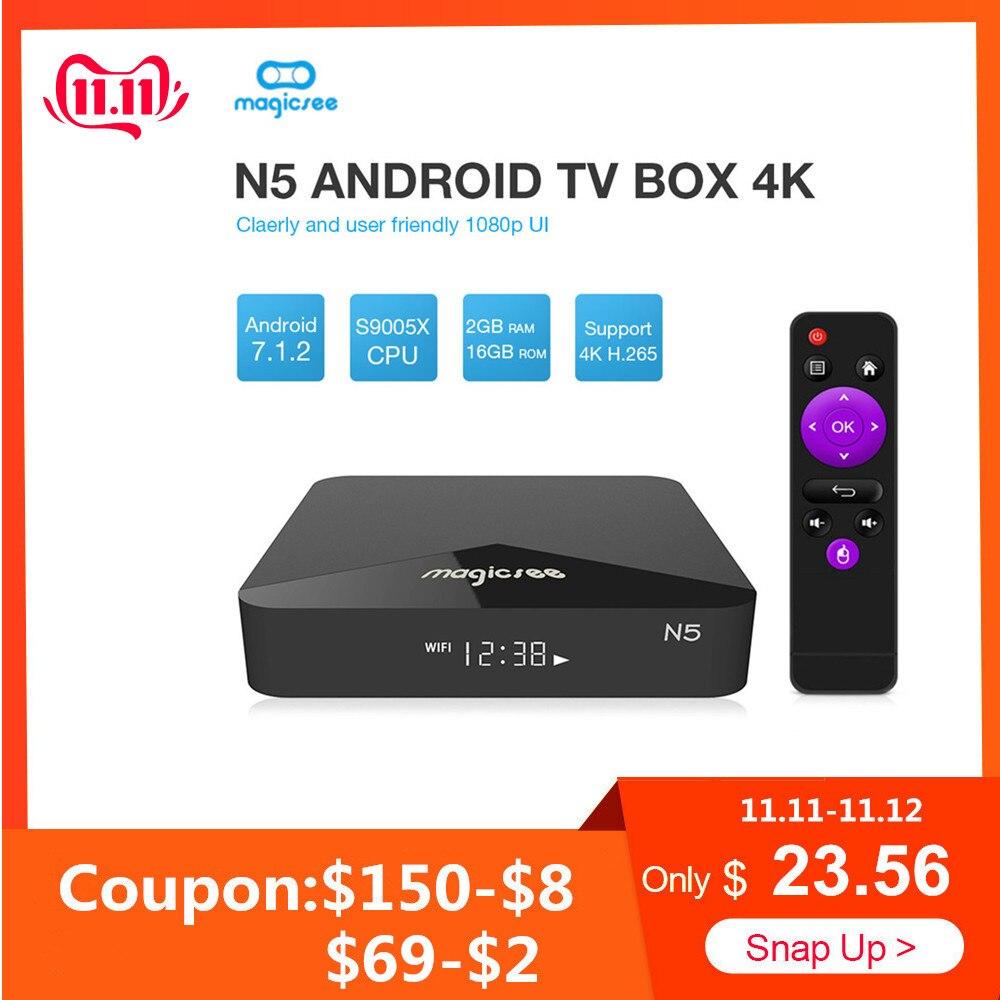 MAGICSEE N5 Smart TV Box Android 7.1.2 Amlogic S905X Mali 450 2GB 16GB Set Top Box 2.4G Wifi 4K H.265 Bluetooth 4.1 Media Player