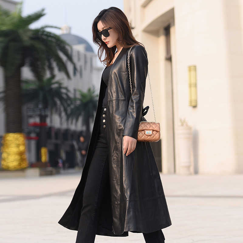 100% płaszcz z prawdziwej skóry owczej kobiet kurtka z prawdziwej skóry nowy 2020 wiosna długi wiatrówka slim odzież wierzchnia jaqueta de couro LX2624
