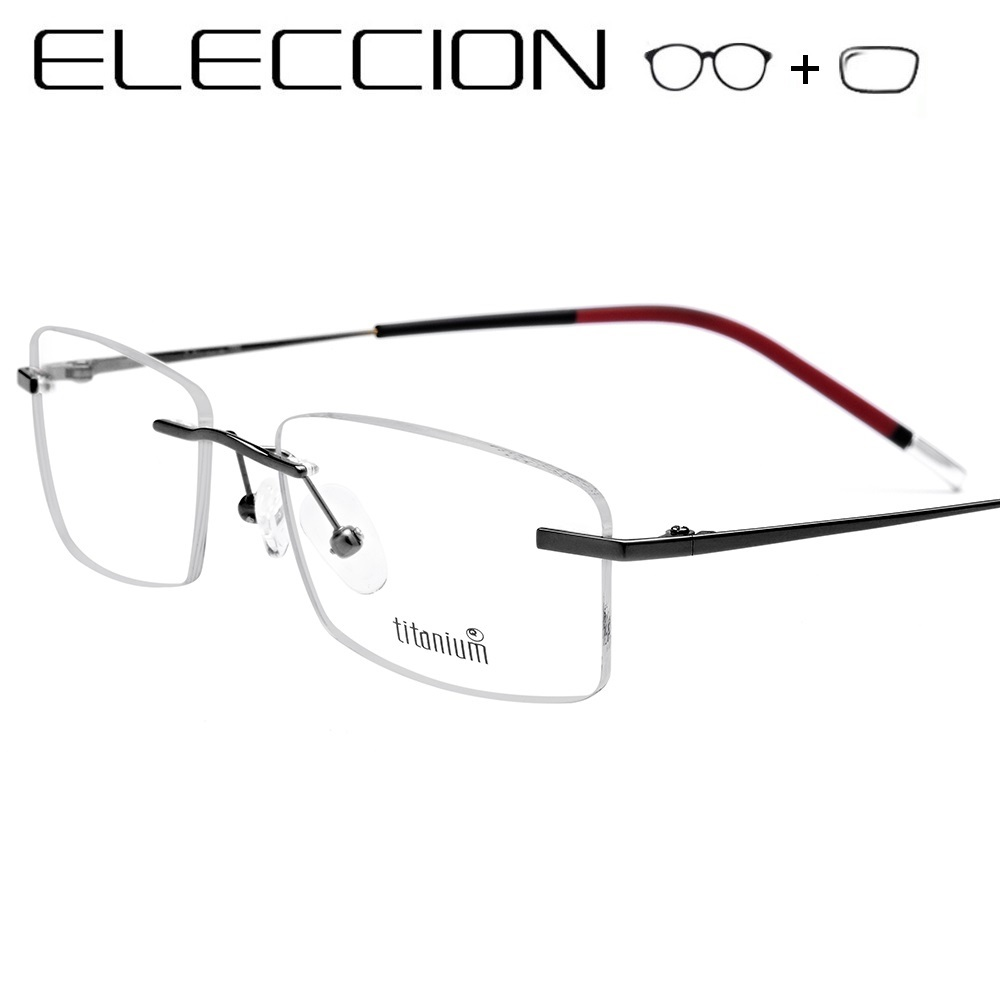 Pure Titanium Frame Men Women Frameless Hyperopia