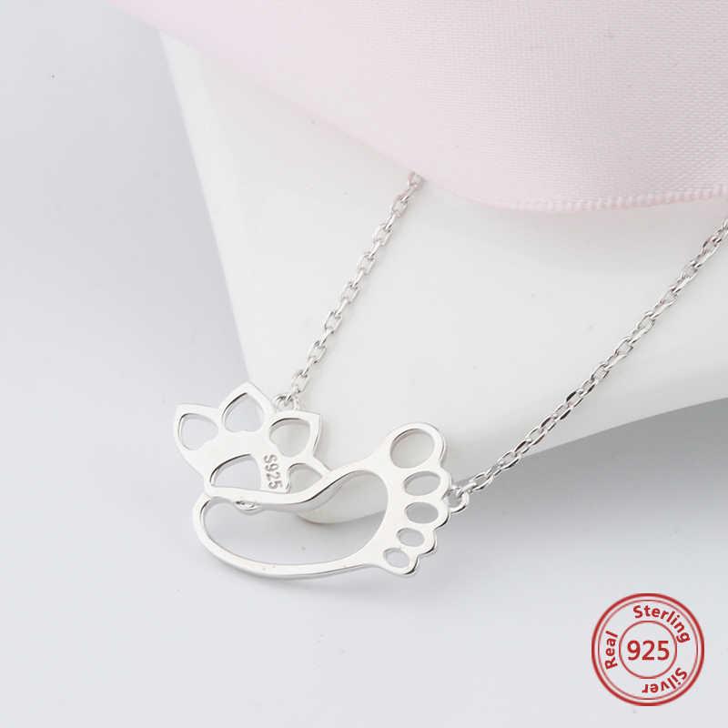 StrollGirl 925 sterling silver śliczny ślad łańcucha pies paw drukuj naszyjnik dla kobiet ludzki przyjaciel modna biżuteria na prezent uwalnia statek