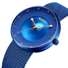 BIDEN Mens' Watches High Quality Noble Blue Male Watches Chic Dial Ultra Thin Analog Mesh Fashion Dress Design Man Watches Waterproof Casual Fashion Sport Relogio Masculino Special Gift ultra chic блузка
