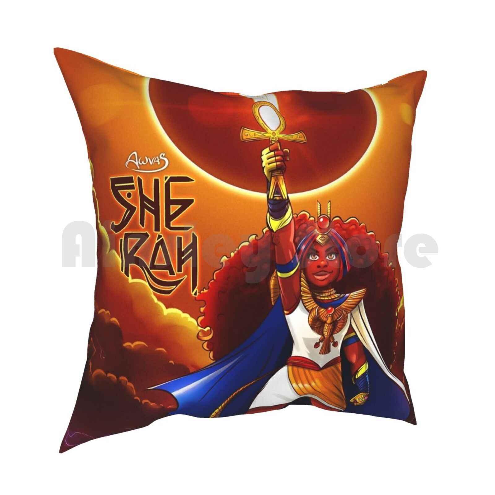 Она сиденье-rah Подушка Чехол с принтом домашняя мягкая подушка DIY крышка Afrofuturism Фэнтези девочка Мощность для девочек с изображением супергероя