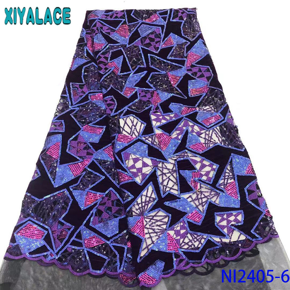 Hot Sale French Lace Fabric New Tulle Lace Fabric 2019 Velvet Laces African Fabrics Laces With Sequins For Women KSNI2405