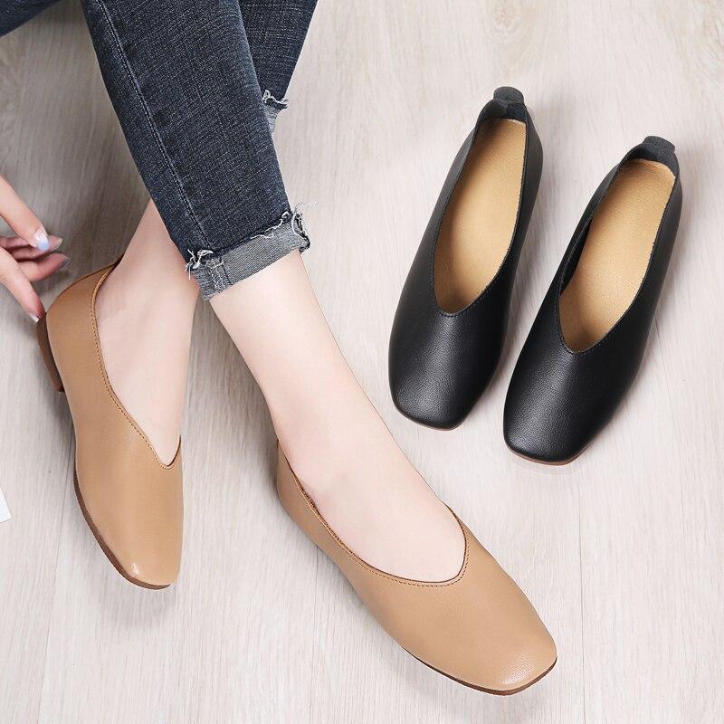 Image 5 - STQ Autumn Women Flats Genuine Leather Shoes Ladies Loafers Slip on Platform Shoes Female Walking Boats Shoes Female YY618Womens Flats   -