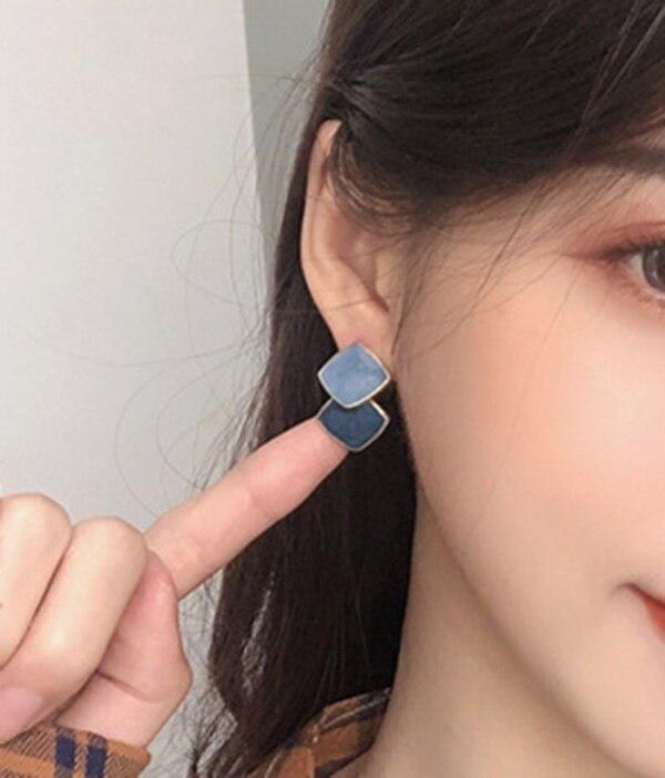 2020 Новые простые милые Квадратные Эмалевые Серьги-капли коричневого и синего цвета для женщин, оптовая продажа ювелирных изделий