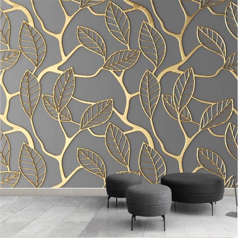 Milofi-papel tapiz de tela no tejida para pared FONDO DE TV con hojas tridimensionales doradas, foto personalizada en 3D, mural de papel de pared