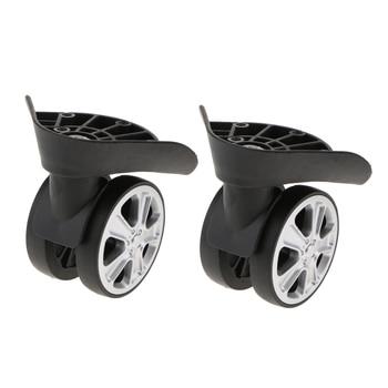 2 juegos de maletas de equipaje izquierda y derecha ruedas giratorias rueda Universal pieza de repuesto (ruedas de Rodillo doble)-J-049A negro