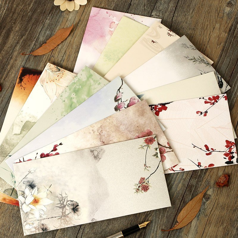JIANWU 12pcs/set  Chinese Style Traditional Classical Envelope White Kraft Envelope Retro Flowers
