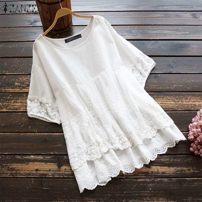 Bohemian Women's Embroidery Blouse 2020 ZANZEA Lace Patchwork Shirts Fashion Short Sleeve Blusas Female Layers Tunic Oversized
