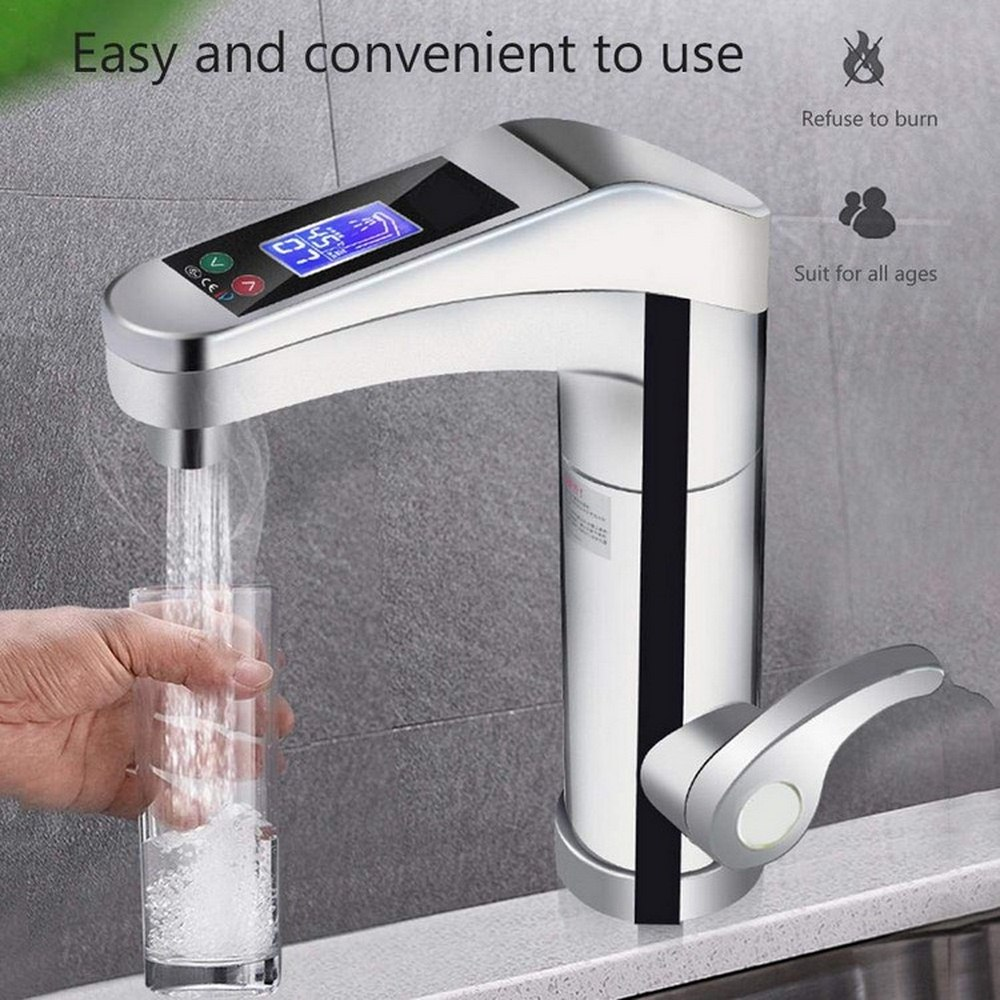 LED Electric Faucet Tap Hot Cold Water Faucet Digital Display Home Bathroom Kitchen Water Heater