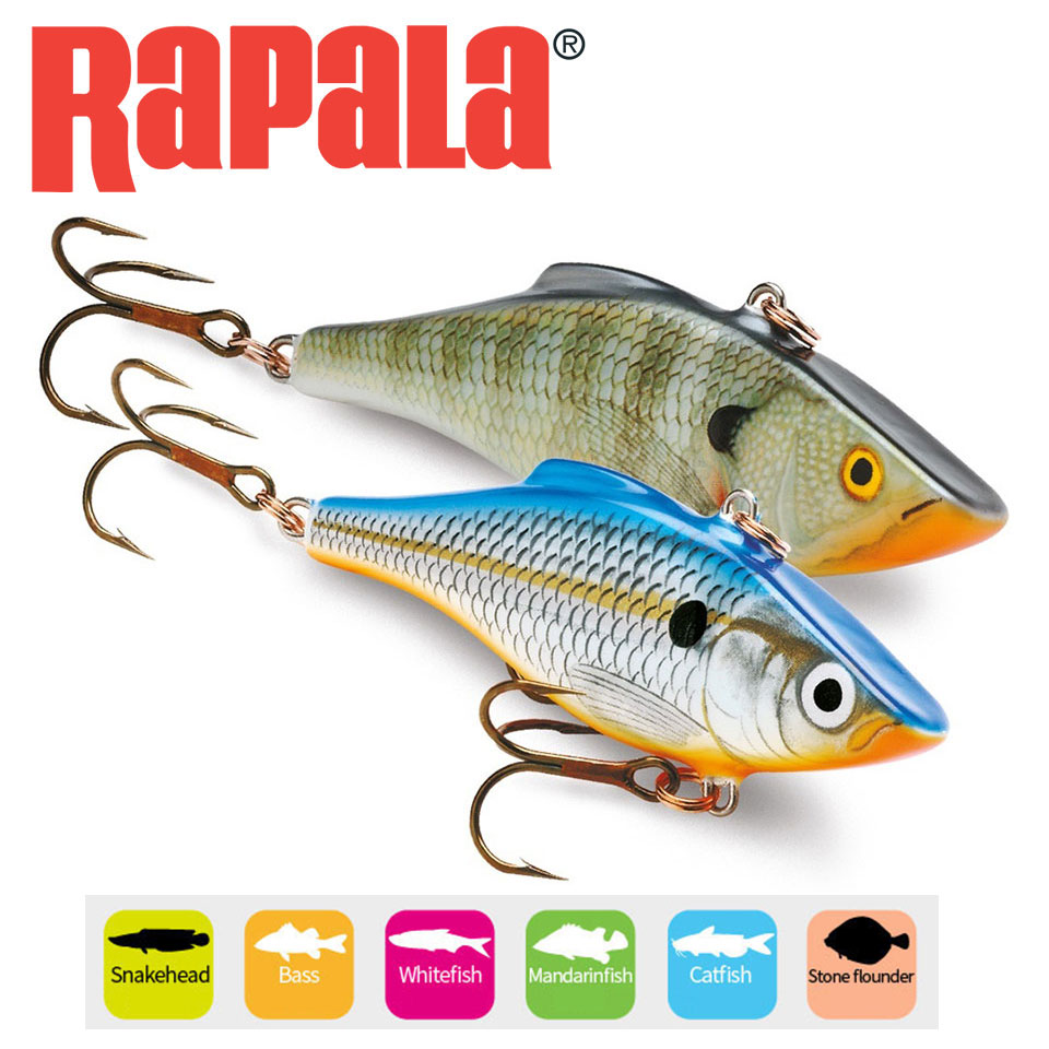 RAPALA Fishing Lure VIB Artificial Lure Rattlin VMC Black Nickel Hooks 5g/7g Classic Lipless Design Bass/Whitefish Hard Bait