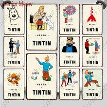 Nueva llegada Tintín de dibujos animados póster clásico de Metal Herge Tintín Shabby Chic Metal arte niños habitación decoración regalo pegatinas de pared de WY108