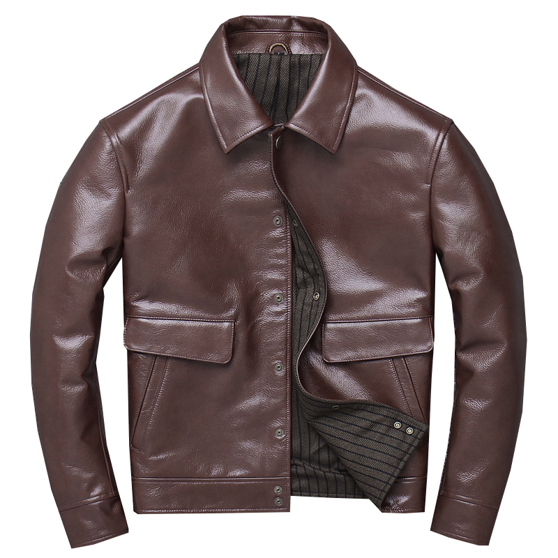 Free shipping.sales,2019 new casual genuine leather Jacket,US mens dark brown Leather coat,Batik cowhide outwear.warm business