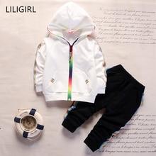 LILIGIRL Cotton Children Casual Tracksuit Baby Boy Girl Zipper Autumn Jacket Pants 2pcs Sets Kids Leisure Sport Infant Clothing недорого