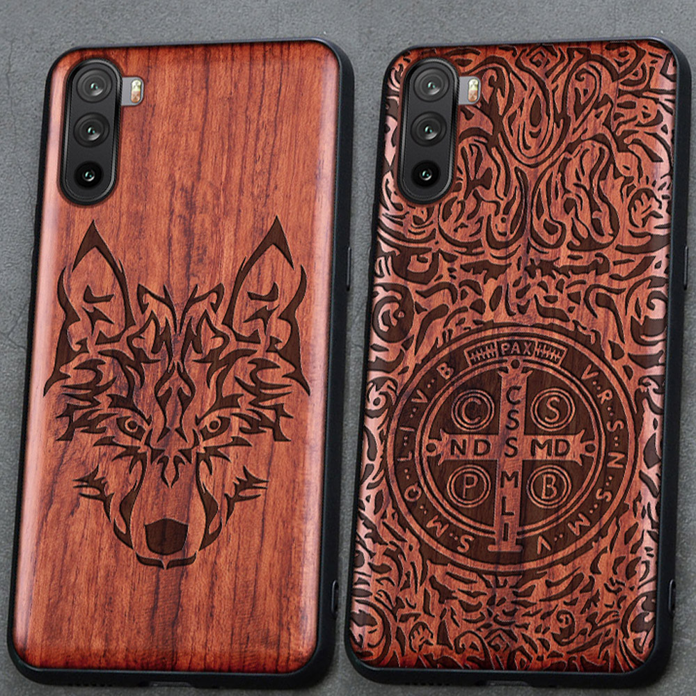 3D Carved Wood Cartoon Bear Case For Huawei Mate 40 Lite Dragon Lion Wolf Tiger Tree wooden carve Cover(China)