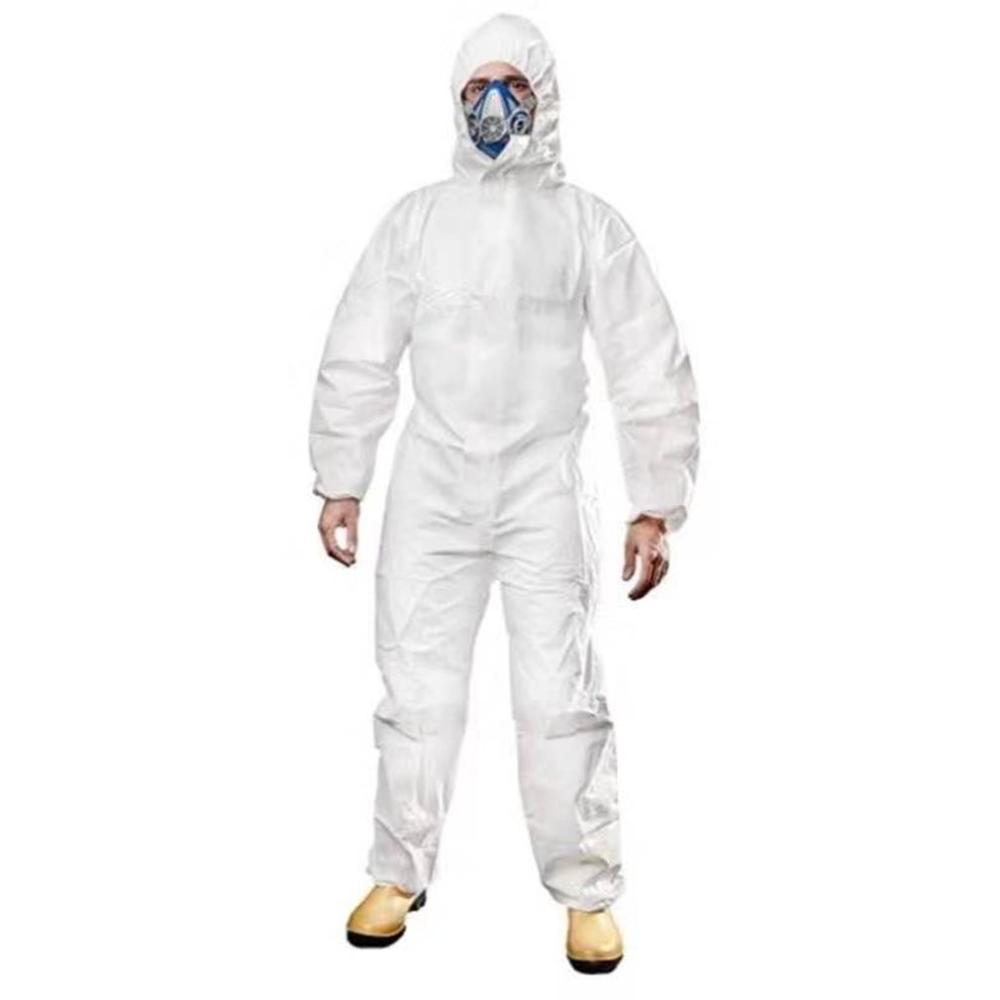 Protective Clothing Medical Antivirus Isolation Heat-seal Coverall Disposable Antistatic Work Clothes Anti-dust Plash White