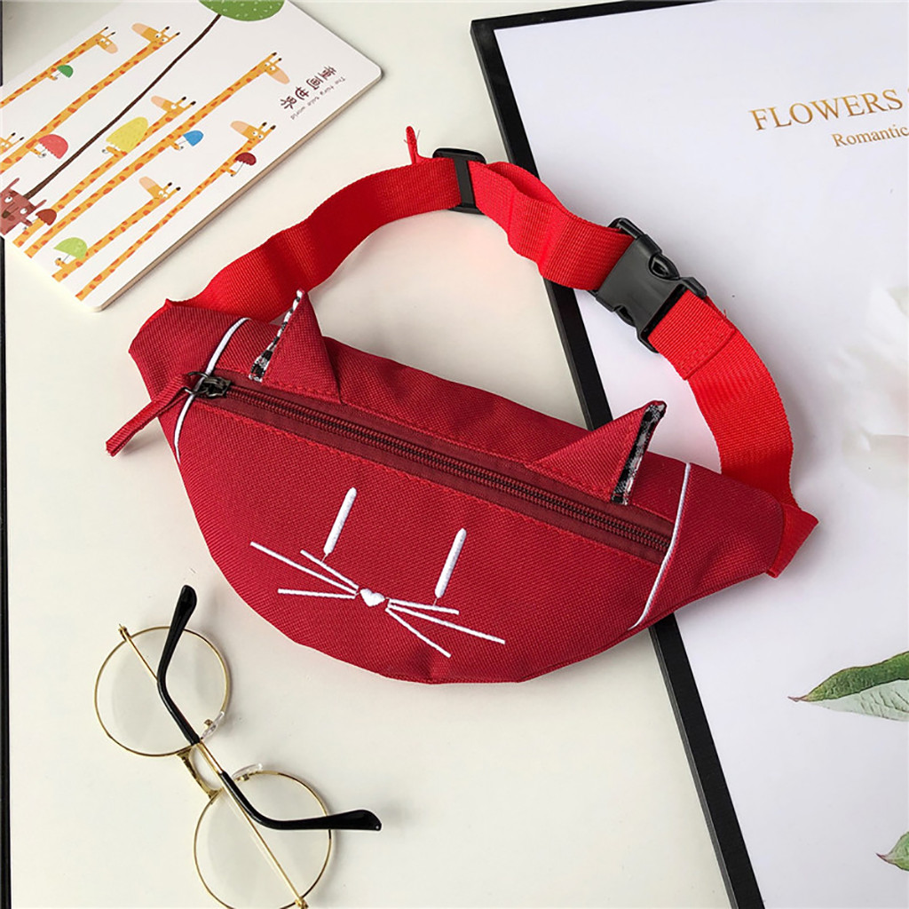 Child Mini Waist Bag Fanny Pack Cute Cat Ear Printed Joker Fashion Chest Canvas Pocket Money Belt Kids Waist Bag Buideltas #C3J