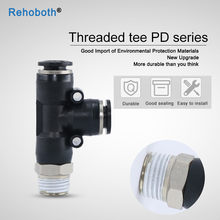 "1Pcs 1/4"" Thread T Shaped Tee Pneumatics Connector One Touch Push In T Joint Pneumatic Quick Fittings(China)"