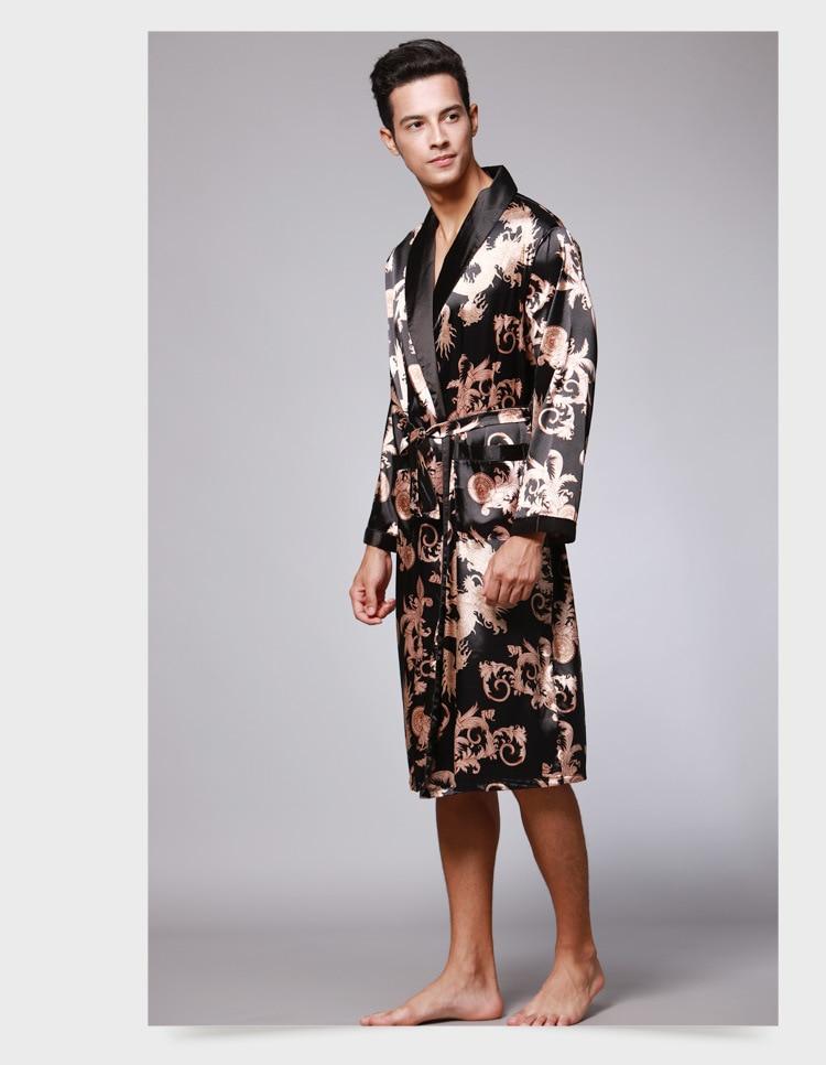 Explosion Style Men's Long Sleeve Pajamas / Men's Bathrobe Silk Pajamas / Men's Long Gray Pajamas