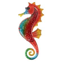 Christmas Metal Glass Red Seahorse Wall Art for Ga