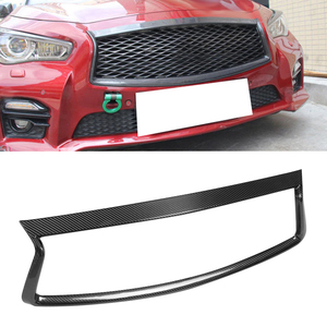 Car Front Grille Outline Trim Frame Cover Fit for Infiniti Q50 2018 2019 2020 Car hang/trim Carbon Fiber Auto Accessorie