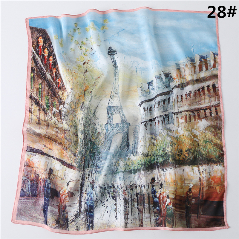 2020 Fashion Oil Print Scarf Women Silk Neck Square Scarves Head Wraps Ladies Female Accessories Kerchief Bandana