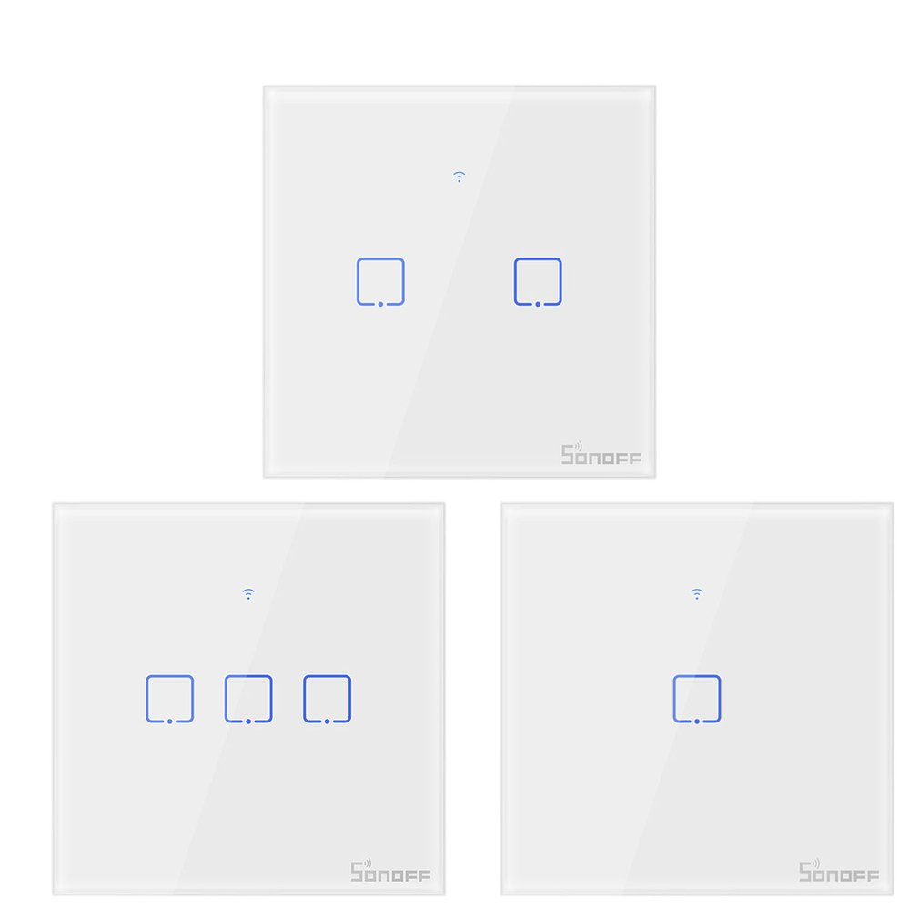 T0/T1/T2/T3 prise ue TX Wifi tactile applique murale interrupteur sans fil maison intelligente 1/2/3 Gang voix/APP télécommande avec Alexa Google