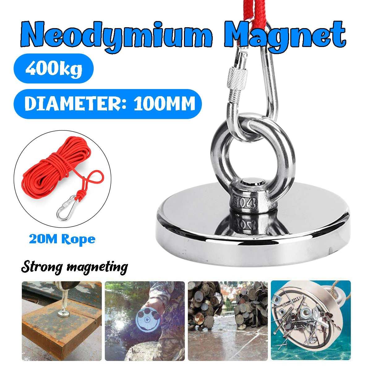 10M Rope 160//250//300//400KG Strong Neodymium Magnet Fishing Dual Hook