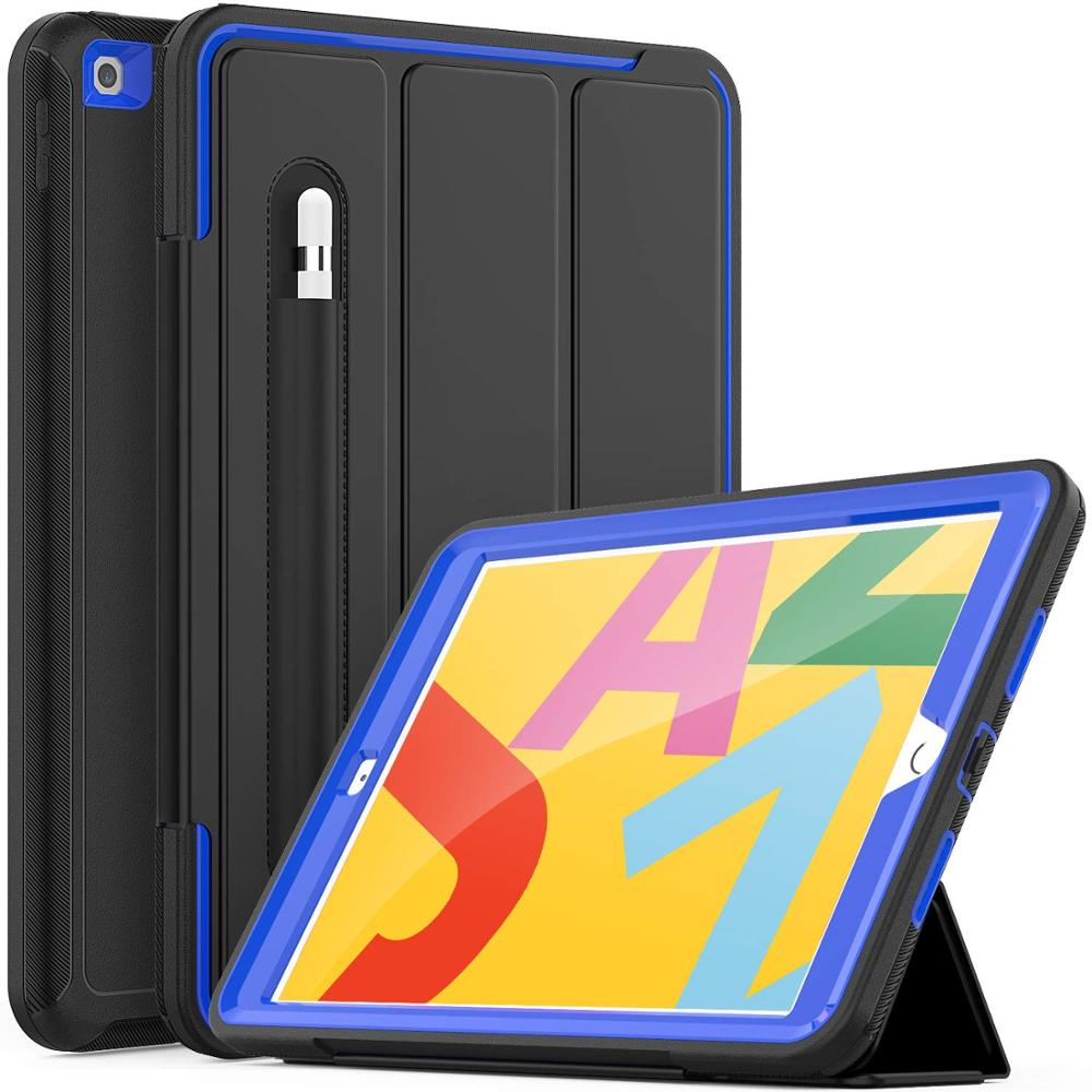 Blue White For iPad 7th Generation Case Flip Heavy Duty Rugged Protective Case with Auto Wake Sleep Smart