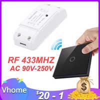 Vhome Drahtlose Schalter Controller Smart Fernbedienung Touch Licht schalter RF Sender AC220V 5A Für Smart Home LED Weiß/ schwarz