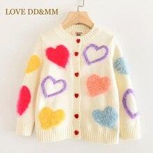 LOVE DD & MM Girls Coats 2020 jesień nowe ubrania dla dzieci dziewczyny Cute Love jednorzędowy z długimi rękawami miękkie dziergany sweter sweter