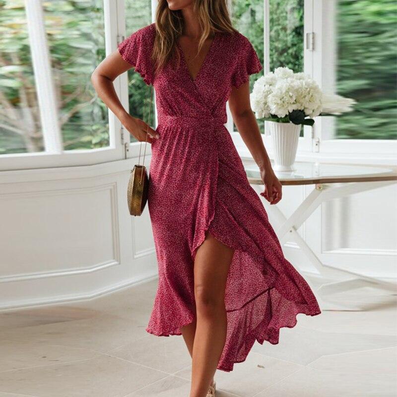 ZOGAA Summer Beach Dress Women Floral Print Long Chiffon Bohemian Short Sleeve Boho Maxi Ruffles Sundress Vestidos