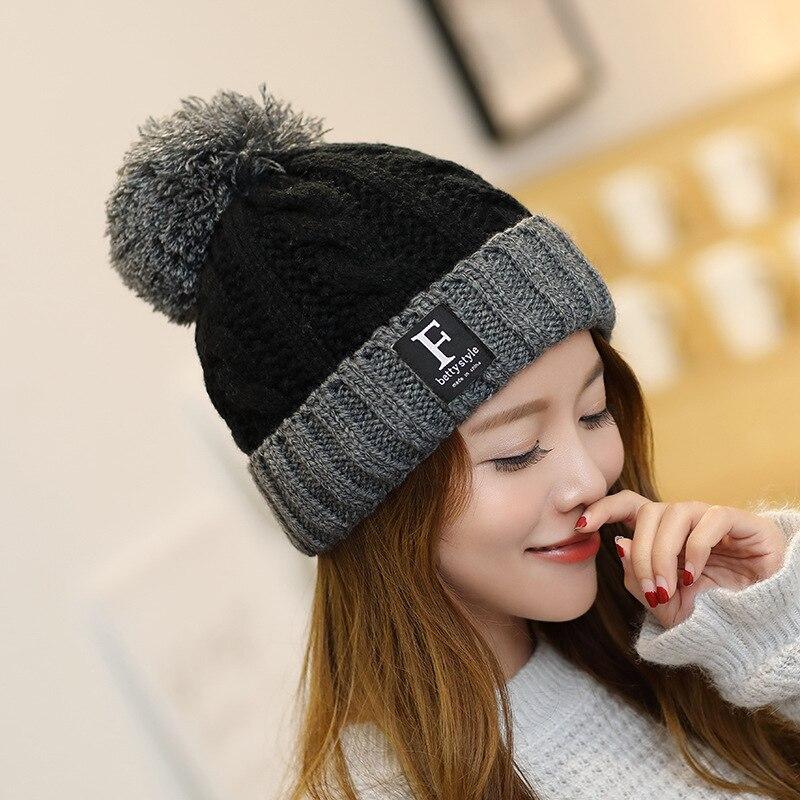 Malha de inverno letras chapéus feminino duplo engrossar e quente boné beanies lã toque lã bola linda