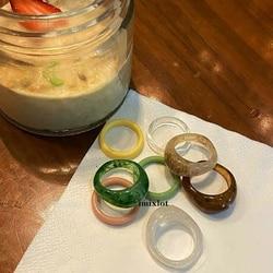 4 pièces nouveau rétro brun acrylique résine anneaux ensemble pour les femmes mode paillettes esthétique accessoire anneau de mariage bandes bijoux de fête