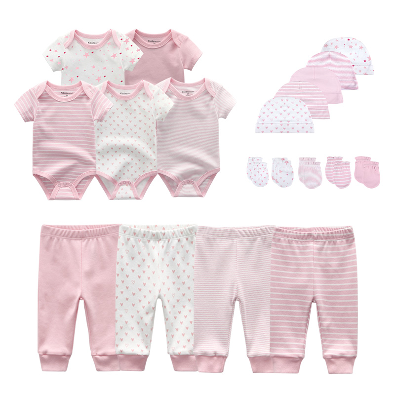 2021 Cotton Solid Newborn Baby Sets Unisex Bodysuits+Pants+Hats+Gloves Baby Girl Boy Clothes Short Sleeve Roupas de bebe