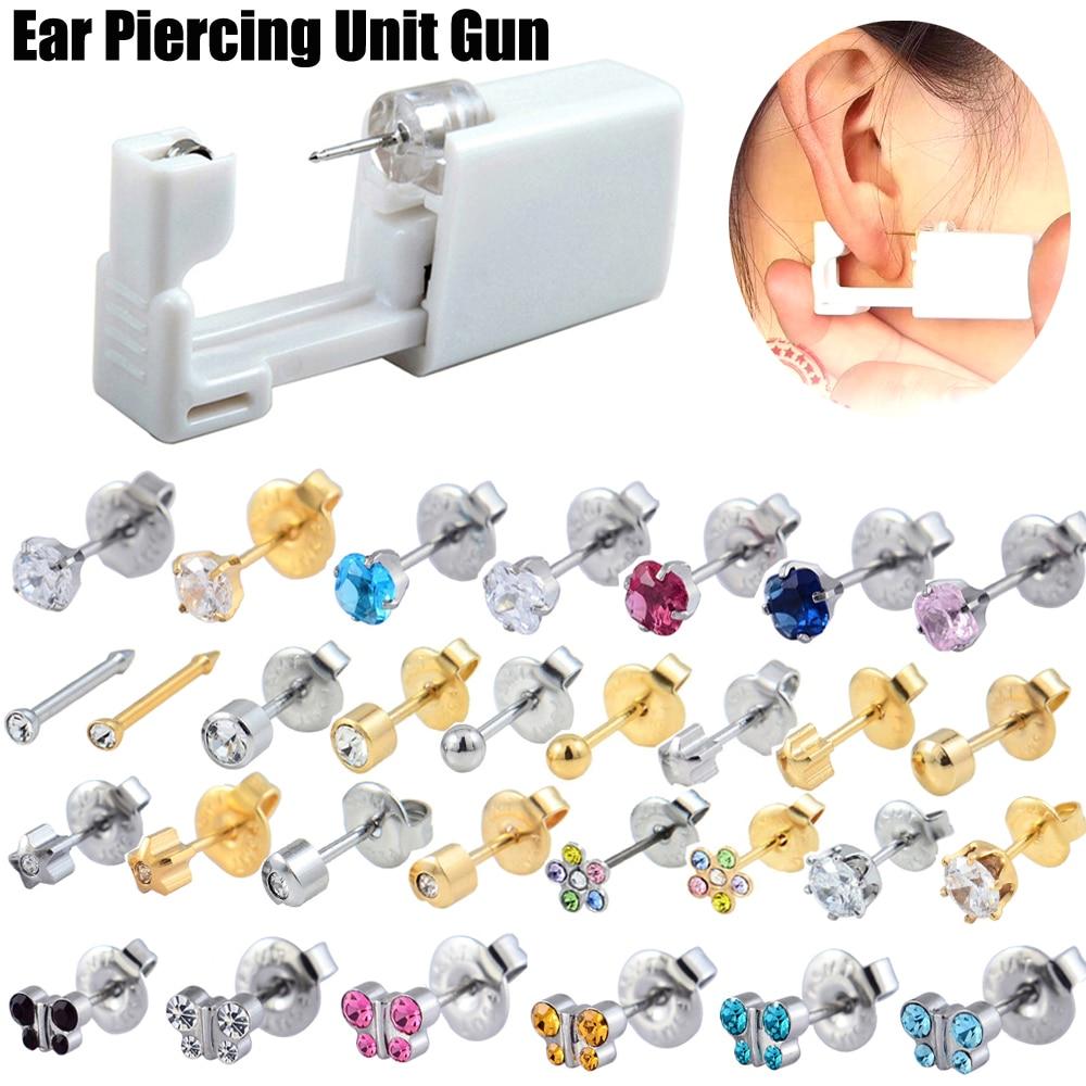Одноразовые безопасные безболезненные стерильные серьги-гвоздики для ушей, студийный пистолет для пирсинга, набор для установки сережек, ю...
