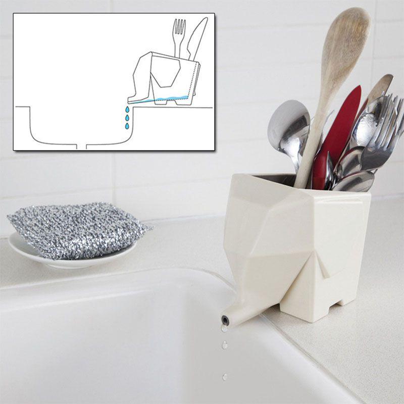 HW Little Elephant Shape Flower Basin Kitchen Tools Bathroom Storage Box Chopsticks Cage Stationery Storage Frame Storage Holder